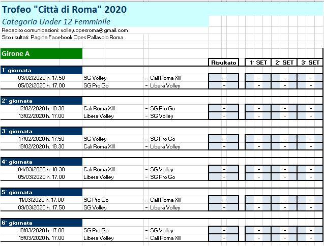 Campionato Under 12 f.le: E' pronto Il calendario definitivo !
